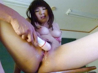 Awesome schoolgirl Yuri Sato wets desk with her pussy juice