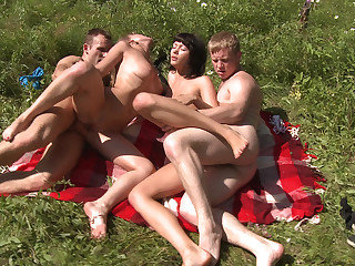 Hot sunbathing and fucking