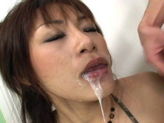 Hot Asian babe double blowjob
