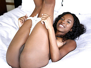 Big ass cute sexy ebony girl Armani Monae rides a big white meat